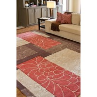 Hand-tufted Brown Floral Squares Rug (8' x 11') | Overstock.com Shopping - The Best Deals on 7x9 - 10x14 Rugs