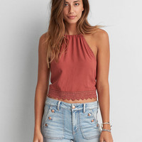 AEO EMBROIDERED CHAMBRAY CROP TOP