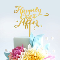 Wedding Cake Topper- Happily Ever After - Wooden Cake Topper
