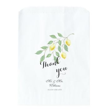 Modern Boho Watercolor Lemon Summer Wedding Favor Favor Bag