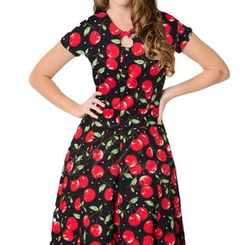 Chicloth 1950s Style Cherry Short Sleeves Swing Dress