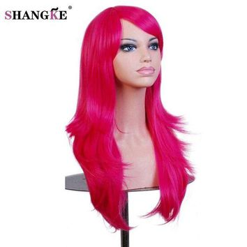 ICIKION SHANGKE Long Wavy Red Wig With Bangs Natural Heat Resistant Synthetic Cosplay Wig African Wigs For Black Women Hair Pieces