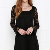 Natural Knack Black Long Sleeve Lace Dress