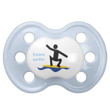 Future surfer, surfer on his surfboard custom baby pacifiers from Zazzle.com
