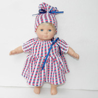 "Clothes Red Blue Dress Hat Handmade for Bitty Baby 15"" American Girl 18"" Doll"