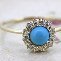 Antique Turquoise Engagement Ring   Victorian Diamond Cluster Ring   Dainty Stick Pin Conversion Ring   Yellow Gold Stacking Ring   Size 6