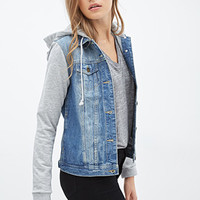 LOVE 21 Off-Duty Denim Jacket Denim/Heather Grey