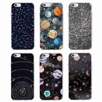 Outer Space Planet Spaceship Constellation Stars Moon Soft Clear Phone Case For iPhone 7 7Plus 6 6S 6Plus 5 5S SE 5C SAMSUNG