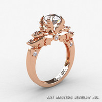 Classic Angel 10K Rose Gold 1.0 Ct CZ Diamond Solitaire Engagement Ring R482-14KRGDCZ