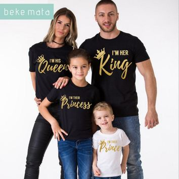 BEKE MATA Family Matching Clothes 2018 Summer New Fashion Father Son T-shirt King Queen Family Look Mother Daughter Clothing Set