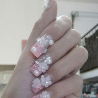 kawaii fake sweets nail art .The beautiful pink four-leaf clover   Decoden, Japanese 3D nails