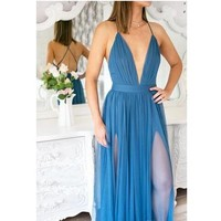 Plunging Neckline Backless Evening Dress Blue Tulle Spaghetti Straps Beach Fashion Two Thigh-high Slits Bohemian Long Evening Prom Gowns from lass