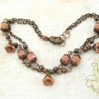 Rustic Shabby Flower Bracelet - Copper Multi Strand Bracelet - Rustic Wedding Bridesmaids Gifts For Her Dusty Pink Copper Boutique Jewelry