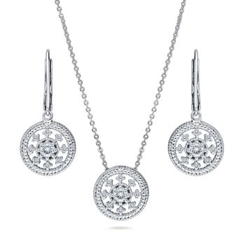 Sterling Silver CZ Art Deco Medallion Milgrain Necklace and Earrings SetBe the first to write a reviewSKU# VS466-01
