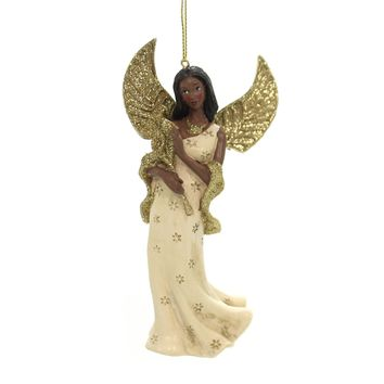 Holiday Ornaments IVORY AND GOLD ANGEL African American Christmas C8960 Flower