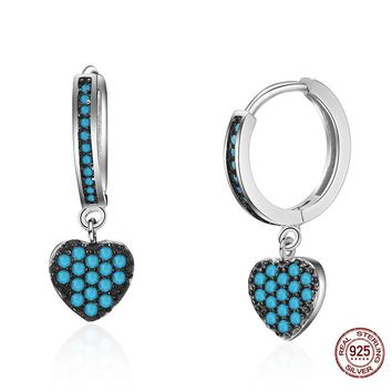 Brighton Vintage Classic Jewelry 925 Sterling Silver Blue Heart Zircon Rhinestone Earrings Pendants for Women Girls Charm Brinco