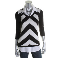 INC Womens Knit Chevron Pullover Sweater