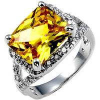 Yellow CZ Engagement Ring