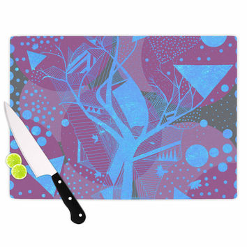 "Marianna Tankelevich ""Dancing Shapes"" Purple Blue Cutting Board"