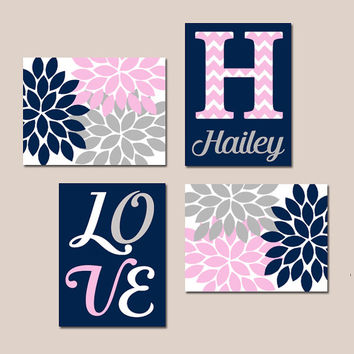 NAVY Pink Gray Nursery Wall Art Canvas or Prints Baby GIRL Love Flower Burst Girl Bedroom Artwork Girl Monogram Name Set of 4 Crib Decor