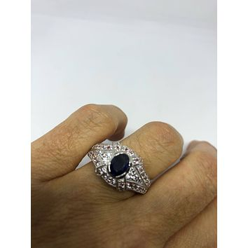 Vintage Handmade deep blue sapphire and white 925 Sterling Silver gothic Ring