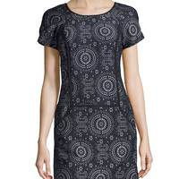 Floral Laser-Cut Jacquard Shift Dress, Ink - Ivy & Blu