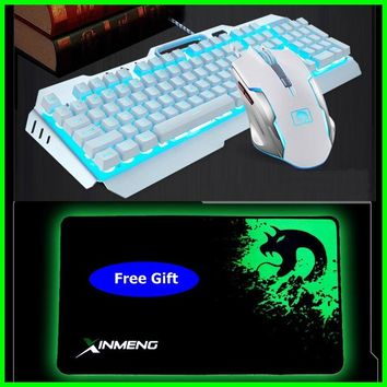 Technology Mamba Suspended Keycap USB Wired Orange Backlit Gaming Keyboard And Mouse Set,Real Mechanical Feel