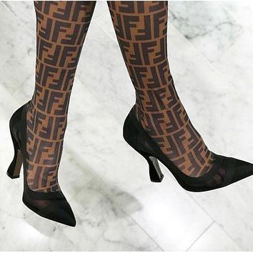 FENDI Trending Women Stylish Black/Coffee Stitching Color Stretch FF Letter Mesh High Heel High Tube Boots I12808-1