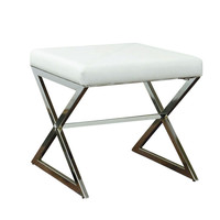 Impressions Vanity Co. | Lux White Faux Leather Vanity Ottoman