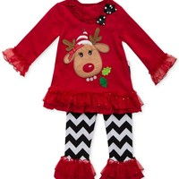 Rare Editions Baby Girls' 2-Piece Reindeer Top & Leggings Set