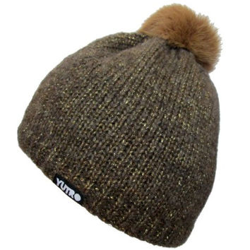 YUTRO Fashion Women's Stylish Fleece Lined Wool Beanie Hat With Rabbit Pom One Size Brown