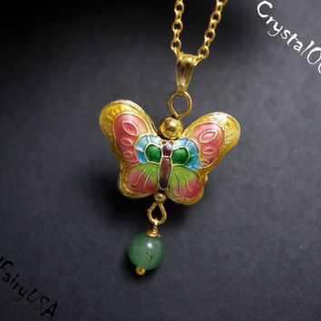 Handmade Fashion Tiny Cloisonne Butterfly Green Aventurine Gold Necklace