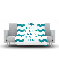 "Nick Atkinson ""Keep Calm and Swim On"" Teal White Fleece Throw Blanket"