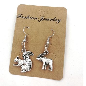 Supernatural inpsired earring sam and dean moose squirrel TV SPN rocky bullwinkle ER002