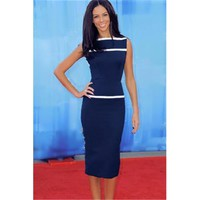 Fashion Slash Neck Sleeveless White Stipe Pencil Midi Dress Blue