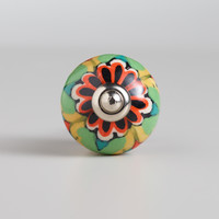 Multicolored Floral Ceramic Knobs, Set of 2 - World Market