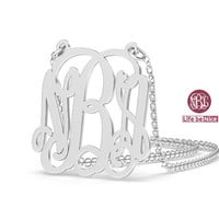 "NBA Monogram Necklace 1.25"" hand made Necklace name Necklace Personalized Monogram 925 Sterling silver"