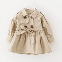 2018 Autumn Baby Girls Jacket Coat Toddler Clothes Full Sleeve Windbreak With Bow Kids Trench Coat Outerwear Coat Tops Baby Girl