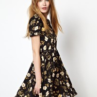 HOUSE OF HACKNEY Campaign Dress in Black Poppy Print