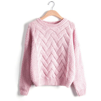 Loose Women Sweater  O Neck Long Sleeve Wave Knit Pullovers Plaid Pull femme Padded Winter Clothing