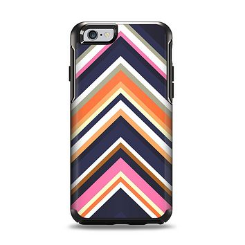 The Solid Pink & Blue Colored Chevron Pattern Apple iPhone 6 Otterbox Symmetry Case Skin Set