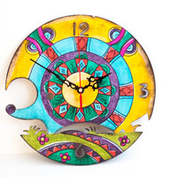 Rainbow hedgehog. Kids wall clock. woodland. kids gift.