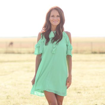 LA Porte Chiffon Ruffle Peep Sleeve Dress in Mint
