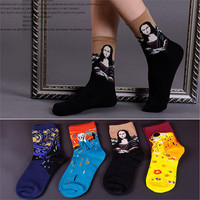 2017 New Arrival Van Gogh Paiting Mona Lisa Patterned Socks Fashion Women Socks Hot Sale Cute Socks Funny Socks