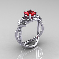 Nature Classic 14K White Gold 1.0 CT Ruby Diamond  Leaf and Vine Engagement Ring R180-14KWGDR