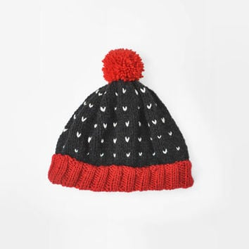 Fair isle red and black ski beanie hat with pom pon / Hand Knitted