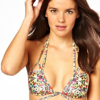 ASOS Mirror Floral Lattice Triangle Bikini Top