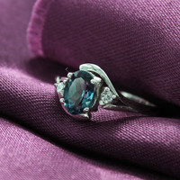 Free Shipping for US & Canada, Low International Shipping Fee. London Blue Topaz Ring 925 Sterling Silver,Finish Rhodium plated