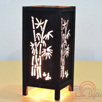 Thai Vintage House Furniture Decoration Black Shadow Bamboo Table Lantern Bedroom Lighting Home Decorate Lamp