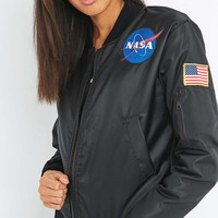 Urban Renewal Vintage Surplus NASA Patch MA1 Black Bomber Jacket - Urban Outfitters